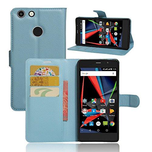 Tasche für Archos 55 Diamond Selfie Hülle, Ycloud PU Ledertasche Flip Cover Wallet Case Handyhülle mit Stand Function Credit Card Slots Bookstyle Purse Design blau