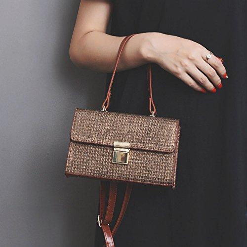 BAGEHUA tessute a mano valigetta Borsa All-Match borsa da spiaggia borsetta Crossbody Bag Sacca di paglia kaki Brown