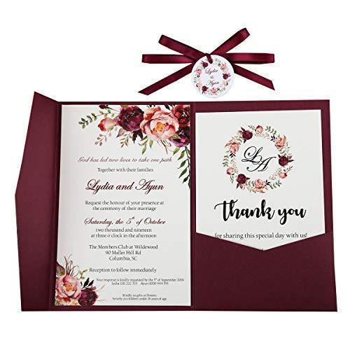 Doris Home DH0001R Hochzeitseinladungen mit Umschlägen, für Hochzeitseinladungen, mit Schleife und Tagen, Burgunderrot 1Pc Blank burgunderfarben