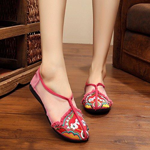 GXS Feine bestickte Schuhe, Sehnensohle, ethnischer Stil, weibliche Schuhe, Mode, bequem, Tanzschuhe Sandalen Pink