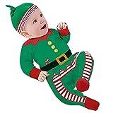 Unisex Baby Weihnachten Set - 2pcs Kinder Weihnachtsgeschenk Langarm Kleiner Weihnachtsmann Grün Mxssi