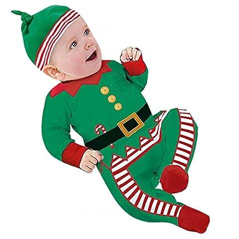 Baby Unisex Weihnachten Party Christmas Infant Jungen Strampler Kostüme Weihnachtskleidung Outfit für Kinder 3-18 Monate Grün