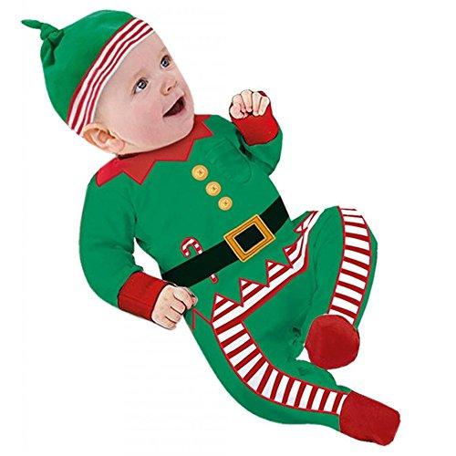 hibote Baby Weihnachten Party Spielanzug Christmas Baby Strampler Kostüme Langarm baby (Für Claus Baby Santa Kostüm Mädchen)