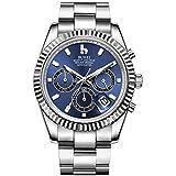 BUREI Reloj cronógrafo para Hombres Dial Azul analógico con Ventana de Fecha Cristal de Zafiro Lente, Caja y Banda de Acero Inoxidable Plateado