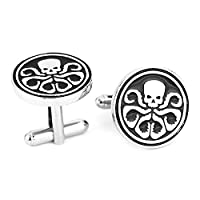 Hydra Skull Black and White Cufflinks - Captain America - Marvel Shirt Accessories for Men With Cufflinks Gift Box