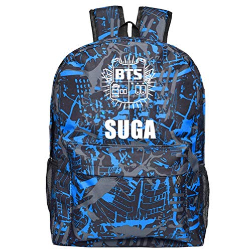PeeNoke BTS Bangtanboys Wings Rucksack Schultasche für Student Blitz Logo SUGA 31 * 18 * 47cm