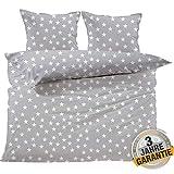 Aminata kids Premium Bettwäsche-Set Sterne, grau Bettbezug 220x240 cm + 2X Kopfkissen 80x80 cm, Baumwolle mit Reißverschluss, schöne Männer, Damen, Partner & Paar-Bettwäsche mit Stern-Motiv
