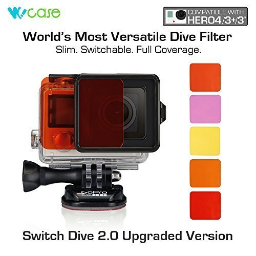 WoCase Switchable GoPro Lens Filter Set for GoPro HERO4 HERO 3+ Cameras (Compatible with Both Standard and Dive Housing, Full Dive Water Depth Coverage) (Gopro Hero 3 Dive)