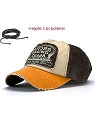 Malloom® Nueva unisex gorra de béisbol algodón mezclado motocicleta Gorra molienda borde haga viejo Sombrero (amarillo)