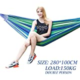 Baskety Portable Outdoor Hammock Hang Bed Travel Camping Swing Canvas with Backpack (Blue 280*100 cm (2 Person) 150 kg)