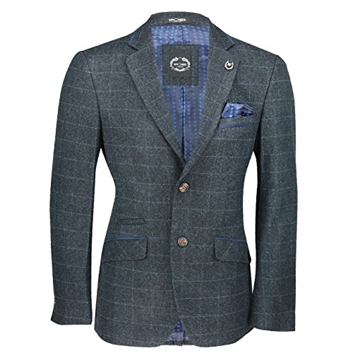 Xposed New Mens Blue Tweed Check 3 Piece Suit Sold Separately Blazer Trouser Waistcoat