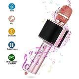 Bluetooth Karaoke Mikrofon, Mbuynow TWS 4.1 KTV Mikrofon mit Selfie-Stange Tragbar Karaoke Microphon für Kinder Kabellose KTV Lautsprecher für PC iPhone iPad Android(rosegold)