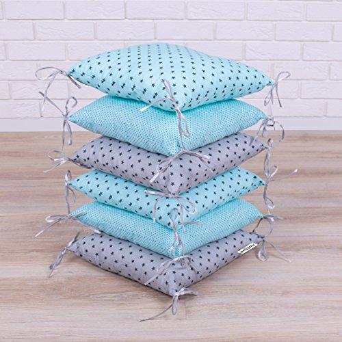 Amilian® Baby Nestchen Bettumrandung 210 cm Design35 Bettnestchen Kantenschutz Kopfschutz für Babybett Bettausstattung