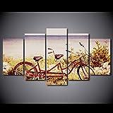 RDCHY Quadro su Tela Moderna Mare, Bicicletta in Tandem 5 Pannelli Dipinti Opere d'Arte Quadri Parete, Elementi Multipli, Decorazione da Parete per Cucina Salotto, Telaio