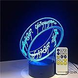 El Señor de los Anillos 3D Forma de Anillo Acrílico LED Luz Nocturna Touch 7 Cambio de color Lámpara de Mesa Regalo de Luz Decorativa