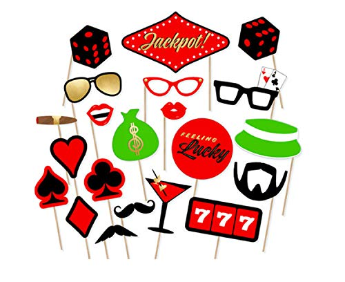 DMMASH 21 Stücke Poker Casino Thema Photo Booth Props Junggesellenabschied Hen Night Graduation Party Dekoration Photobooth Requisiten Liefert