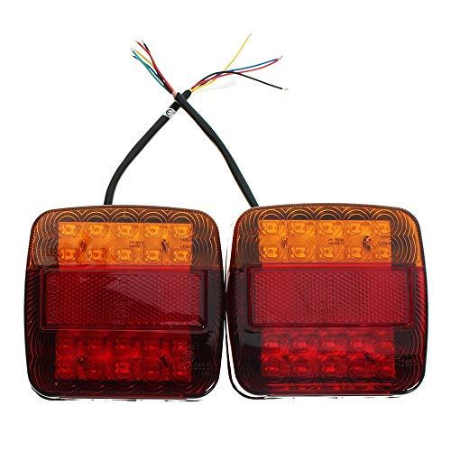 2 STÜCKE LED Rücklicht Rücklicht Brems Bremslicht Blinker Nummernschild Lampe Für Anhänger Lkw Freizeitfahrzeug - Rot + Bernstein + Schwarz (Led Brems-rücklicht)
