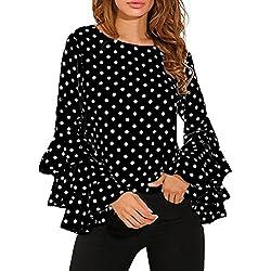 Cinnamou Camisa de Lunares Suelta de Las señoras de la Manga de la Campana de Las Mujeres de la Moda Tops Casuales de la Blusa Abrigo Manga Larga Pullover (Negro, XL)