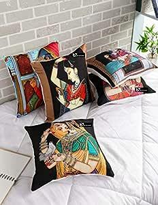 b7 CREATIONS Digital Printed Jute Cushion Cover (16x16 inches) -Set of 5