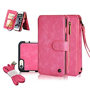 iPhone 6S Case ,CORNMI Multi Functional Leather Handbag Zipper Pocket Flip Leather Wallet Case with 14 Crad Slot and Wrist Strap for iPhone 6/6S 4.7 inch Pink