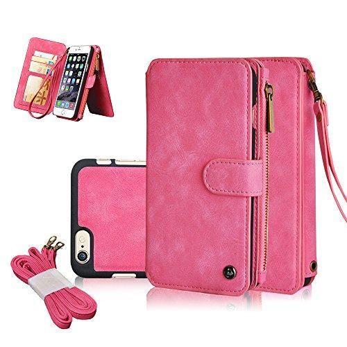 Geldbörse mit Schutzhülle für iPhone 6,6S, 6Plus, 4,7-5,5 Zoll/11,9-14cm, Abnehmbare Hülle, Leder, Reißverschluss, Multifunktionale Tasche, Abnehmbar, Magnetisch iPhone 6/6S Pink iPhone 6/6S Pink