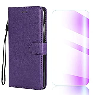 The Grafu Huawei Y9 2018 Case, Shockproof Leather Wallet Flip Case [with Free Tempered Glass Screen Protector] Stand Function Cover for Huawei Y9 2018, Purple