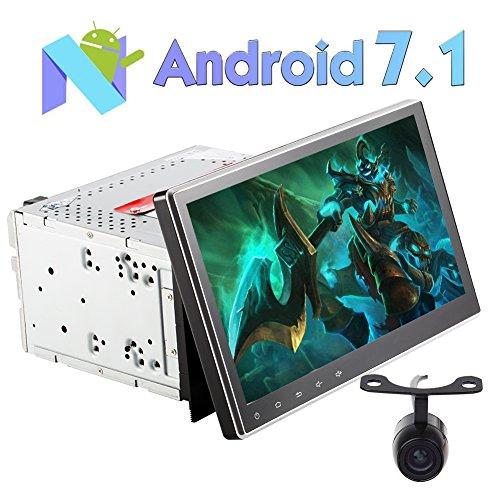 EINCAR 10.1 Zoll Android 7.1 Universal-Doppel-DIN-Autoradio mit einstellbarem Betrachtungswinkel Head Unit mit Free Reverse-Kamera-Unterstützung GPS DAB Spiegel Link-WiFi 3G 4G RDS-Radio SWC USB