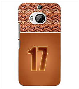 PrintDhaba Numerology Number 17 D-3650 Back Case Cover for HTC ONE M9 PLUS (Multi-Coloured)