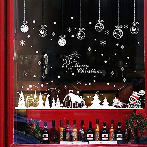 Noël Autocollants Fenetre Amovibles Décoration Stickers Muraux Pour Fenêtres Home Decor Size:About 60 * 90cm pas cher (Blanc)