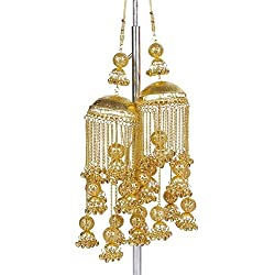 MUCH MORE Gold Brass 1 Pair Kalira Set For Women