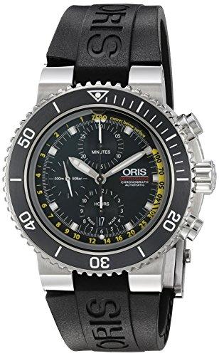 ORIS MEN'S 49MM BLACK RUBBER BAND STEEL CASE AUTOMATIC WATCH 77477084154RS