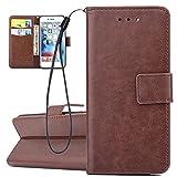 ISAKEN Hülle für iPhone 6S Plus, PU Leder Brieftasche Geldbörse Wallet Case Ledertasche Handyhülle Tasche Schutzhülle Etui mit Handschlaufe Strap für iPhone 6 Plus / 6S Plus - Blank Einfarbig Braun