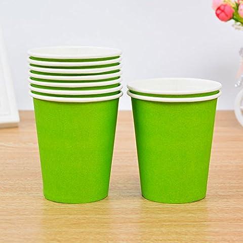 Tankerstreet jetables Vert clair papier Tasses pour boissons chaudes froid, gobelets en papier Fête les pique-niques 255,1gram Lot de 8