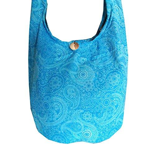 Damen-Tasche mit Paisley-Muster, Hippie-/Hobo-/Boho-Stil, für Festivals, Strandtasche, aus Baumwolle Himmelblau