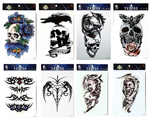 Langlebige und realistische temp tattoo Aufkleber 8pcs mischt -