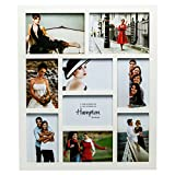 1232WH9 Gallery High Quality White Seven 4x6in/A6 (10x15cm) & Two 5x7in (13x18cm) Beautifully Crafted Multi Aperture Photo Frame Wall Hang Only by Hampton Frames