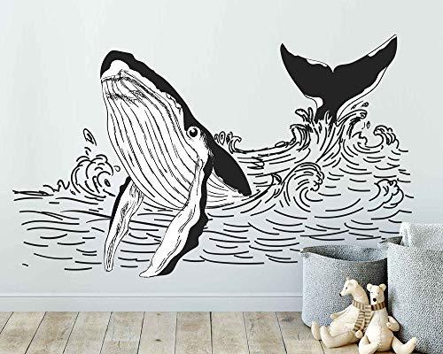 Tiukiu Wandaufkleber Wal Wal Wal Wal Wall Sticker Decor für Zuhause, Abnehmbarer Vinyl-Aufkleber, Schwarz und Weiß, klein, Vinyl, Multi, 22 Inch In Width -