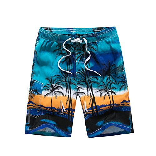 Mens Board Shorts - Quick Dry Swim Trunks Coconut Tree Printing Swimwear - Tropical Island Hawaiian Beach Shorts Swimming Shorts with Mesh Lining and Pocket (M / 74-94CM, blue)