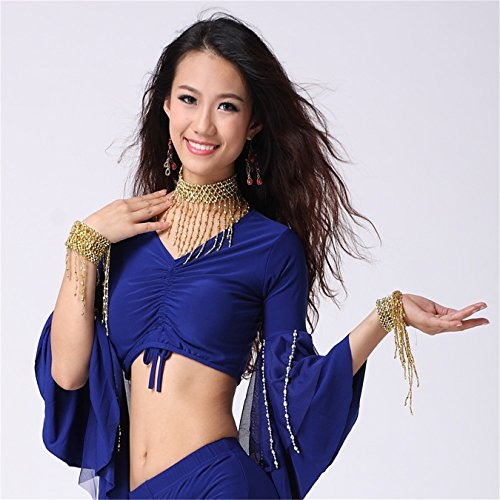 Women Sexy Dance Tops Bauchtanz Costume 3/4 Trumpet Sleeve Beads Chain Bandage Dancewear Dark Blue