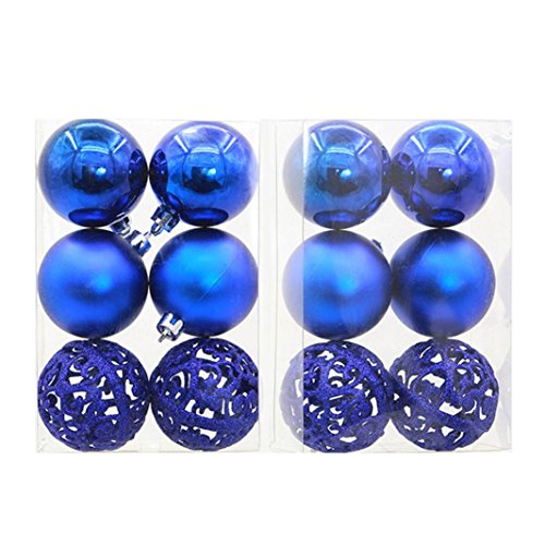 Boule de Noel Argenté Rose Rouge Dore Paillette Sapin de Noel Boules Ciselée 6pcs 6cm Ambiance Decoration (Bleu)