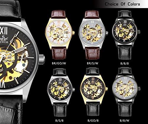 Vycloud (TM) Vigilanza del regalo dell'orologio SEWOR Orologio automatico del Mens superiore di marca di lusso meccanica di scheletro della vigilanza cinturino in pelle Oro Argento Uomini Sport
