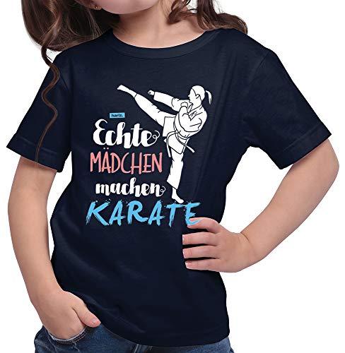 HARIZ  Mädchen T-Shirt Echte Mädchen Karate Sport Plus Geschenkkarte Deep Navy Blau 152/12-13 Jahre