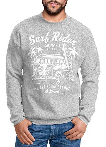 Herren Sweatshirt Bus Bulli Surfing Retro Samba T1 T2 T3 Surf Rider Pullover für Männer Neverless grau XL