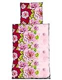 4 tlg Bettwäsche 135 x 200 cm Blumen Rose rosa lila 2 Garnituren