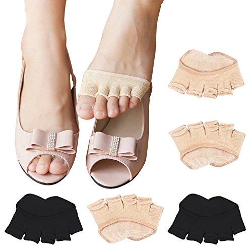 REKYO 10 Paar Baumwollsocken Toe Topper für Frauen Peep Toe Socken Vorfuß Socken Deckel eine halbe Handfläche Zehensocken für Pumpen und Erbsen Schuhe (schwarze Haut)