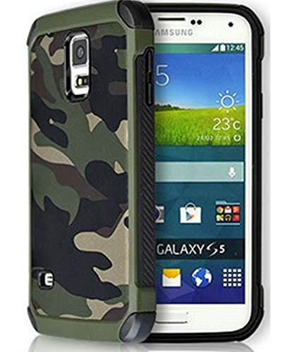 FDTCYDS ,Samsung S5 Hülle Shockproof Hybrid Rugged Camouflage Cover Hülle für Samsung Galaxy S5 SV - Grün