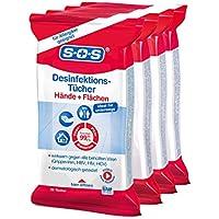 SOS Desinfektionstücher (4x25 Tücher) - zur Desinfektion von Händen, Haut und Flächen preisvergleich bei billige-tabletten.eu