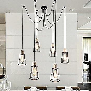 BAYCHEER Vintage Ceiling Lamp Hanging Lighting Edison Multiple Adjustable DIY Spider Light Metal Wire