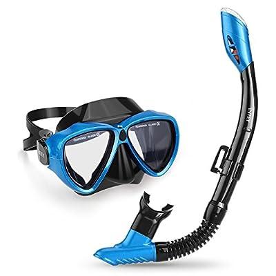 INTEY Schnorchelset oder Taucherbrille Schnorchelmaske mit Anti-Fog Taucherbrille und Dry Schnorchel inkl. Ausblasventil und Anti-Fog Tachermaske aus Gehärtetem Glas für Erwachsene und Kinder von INTEY