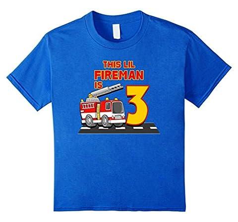 unisex-child Boys 3rd Birthday t-Shirt This Lil Fireman is 3 Kinder, Größe 104 Königsblau